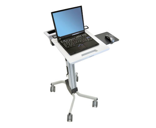 Ergotron Neo-Flex® Laptop Cart, Laptop and Accessories, Top View, Front View