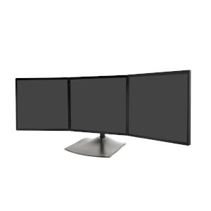 Ergotron DS100 Triple-Monitor Desk Stand, Front View, Three Monitors