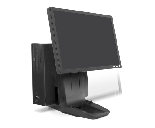 Ergotron Neo-Flex® All-In-One Lift Stand, Front View, Black Colour, CPU Mounted, Monitor Mounted, Monitor Lifted