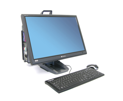 Ergotron Neo-Flex® All-In-One Lift Stand, Front View, Black Colour, Keyboard, Mouse, CPU Mounted, Monitor Mounted