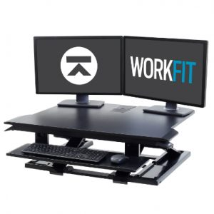 Ergotron WorkFit-TX Standing Desk Converter Two Monitor Logo