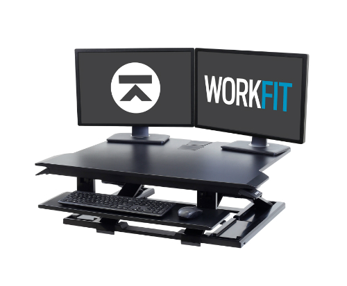 Ergotron WorkFit-TX Standing Desk Converter Two Monitor Logo