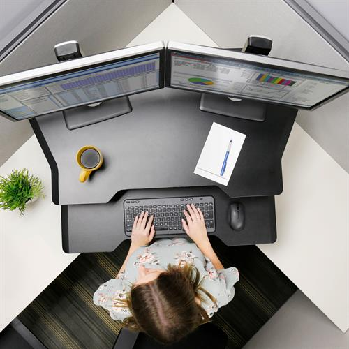 Ergotron WorkFit™ Corner Standing Desk Converter Bird's Eye View Work