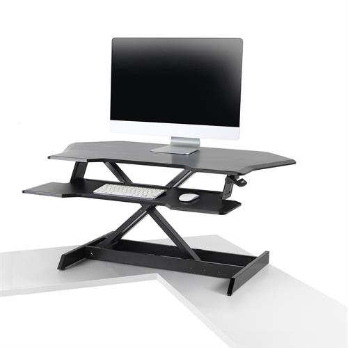 Ergotron WorkFit™ Corner Standing Desk Converter Raised One Monitor