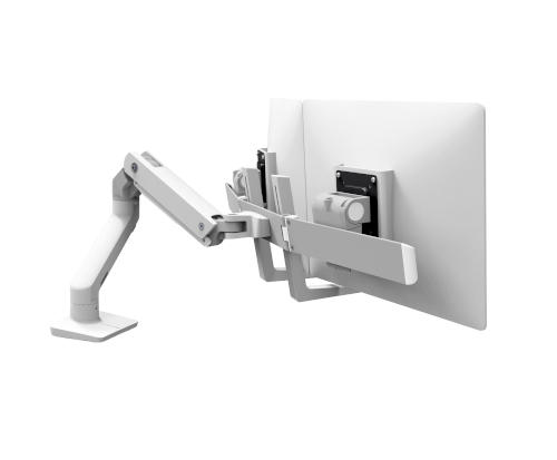 Ergotron HX Desk Dual Monitor Arm, Back View, White Colour, Two Monitors Mounted