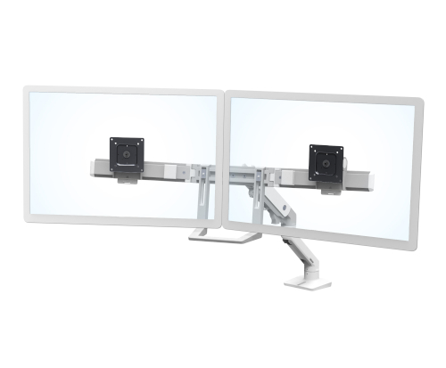Ergotron HX Desk Dual Monitor Arm, Front View, White Colour, Two Monitors Mounted, Transparent Monitors