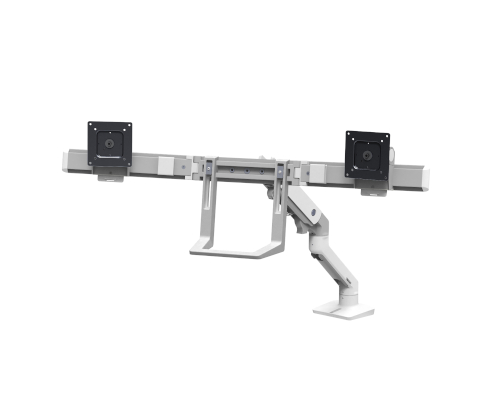 Ergotron HX Desk Dual Monitor Arm, Front View, White Colour, No Monitors Mounted