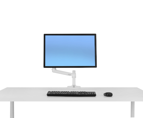 Ergotron LX Desk Monitor Arm, Front View, White Colour, Mounted on Desk, Blue Monitor, Keyboard and Mouse