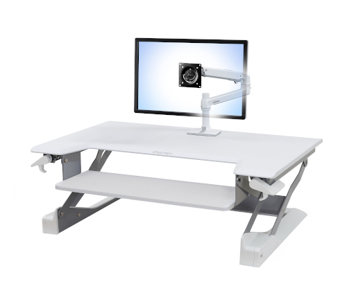 Ergotron LX Desk Monitor Arm, Front View, White Colour, Sit Stand Desk Mounted, Monitor Mounted, Transparent Monitor