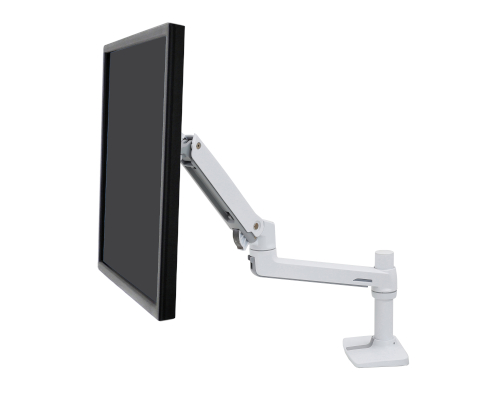 Ergotron LX Desk Monitor Arm, Side View, Single Monitor Mounted, White Colour