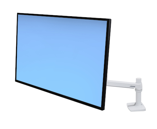 Ergotron LX Desk Monitor Arm, Front View, LCD Mounted, White Colour, Blue Monitor