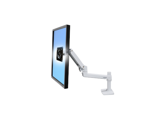 Ergotron LX Desk Monitor Arm, Side View, White Colour, Monitor Mounted, Blue Monitor