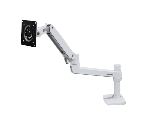 Ergotron LX Desk Monitor Arm, Front View, White Colour, No Monitor Mounted