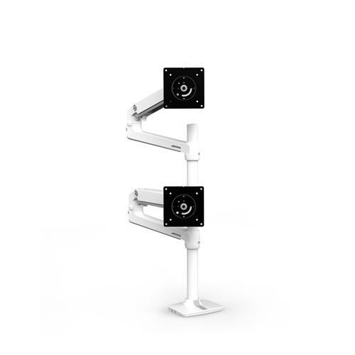 Ergotron LX Dual Stacking Arm Tall Pole White Two Arm Stacked