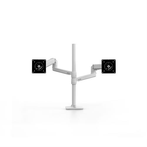 Ergotron LX Dual Stacking Arm Tall Pole White Two Arm Back
