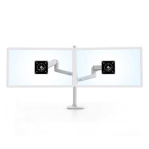 Ergotron LX Dual Stacking Arm, Front View, White, Dual Monitor