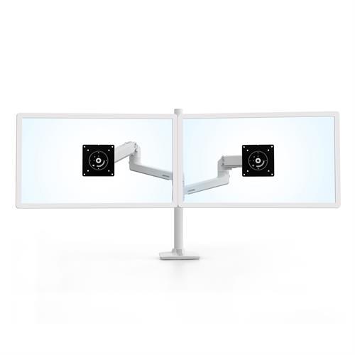 Ergotron LX Dual Stacking Arm Tall Pole White Two Arm Monitor