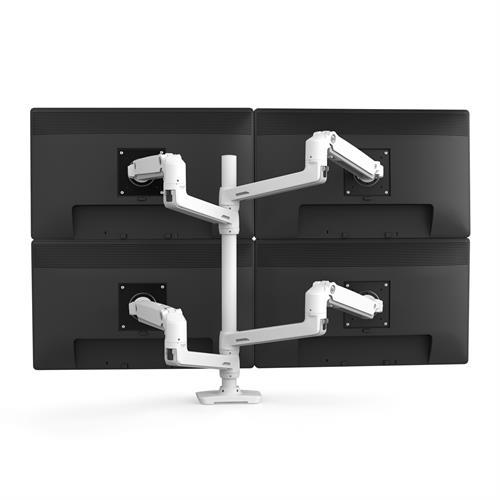 Ergotron LX Dual Stacking Arm Tall Pole White Four Arm Monitor Back