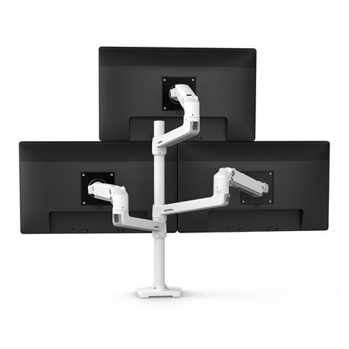 Ergotron LX Dual Stacking Arm Tall Pole White Three Pole Monitor Back