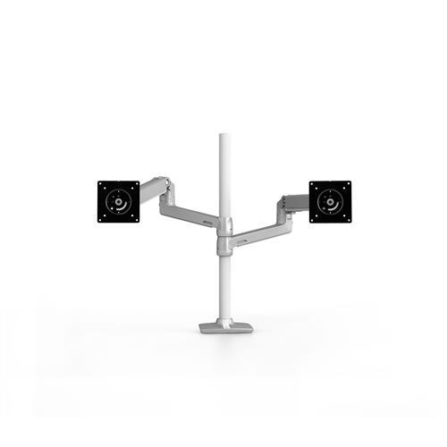 Ergotron LX Dual Stacking Arm Tall Pole Silver Two Arm