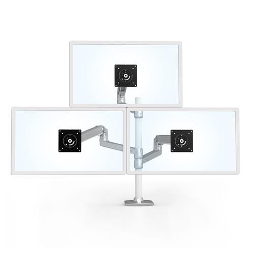 Ergotron LX Dual Stacking Arm Tall Pole Silver Three Arm Monitor