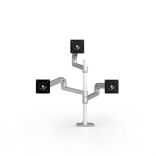 Ergotron LX Dual Stacking Arm Tall Pole Silver Three Arm