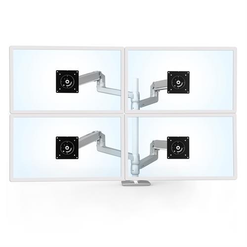 Ergotron LX Dual Stacking Arm Tall Pole Silver Four Arm Monitor