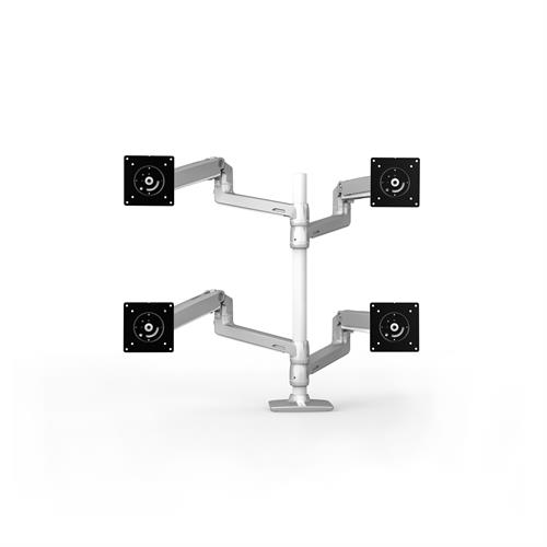 Ergotron LX Dual Stacking Arm Tall Pole Silver Four Arm