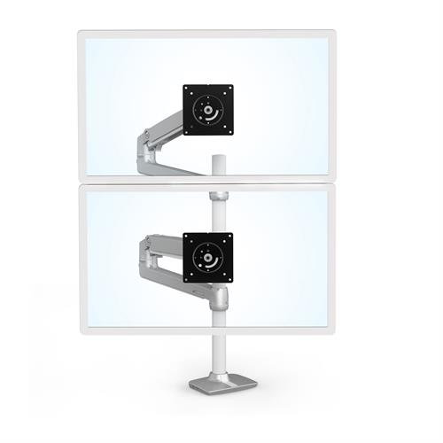 Ergotron LX Dual Stacking Arm Tall Pole Silver Two Arm Monitor Stacked