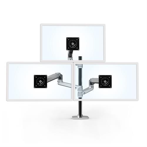 Ergotron LX Dual Stacking Arm Tall Pole Polished Aluminium Three Arm Monitor