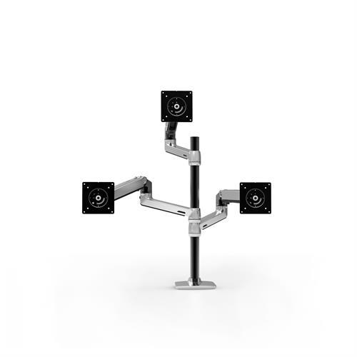 Ergotron LX Dual Stacking Arm Tall Pole Polished Aluminium Three Arm