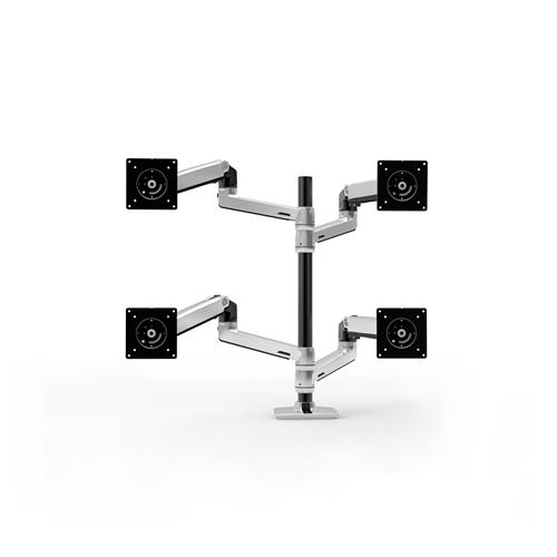 Ergotron LX Dual Stacking Arm Tall Pole Polished Aluminium Four Arm