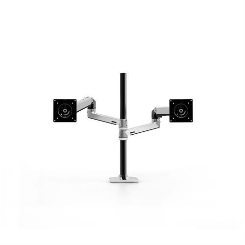Ergotron LX Dual Stacking Arm Tall Pole Polished Aluminium Two Arm