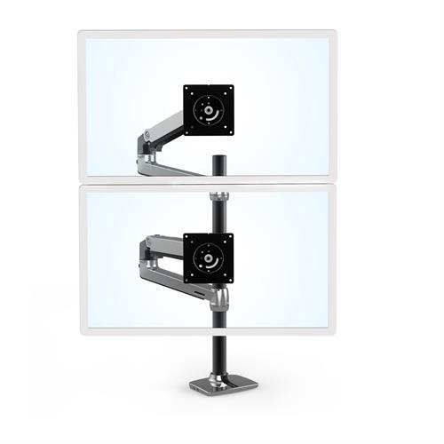 Ergotron LX Dual Stacking Arm Tall Pole Polished Aluminium Two Arm Monitor Stacked
