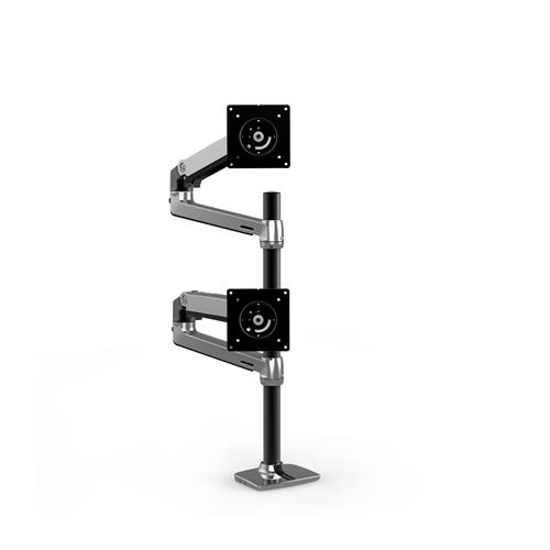 Ergotron LX Dual Stacking Arm Tall Pole Polished Aluminium Two Arm Stacked