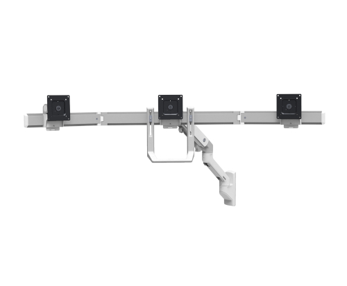 Ergotron HX Triple Monitor Bow Kit, White Colour, Front View, No Monitors