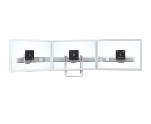 Ergotron HX Triple Monitor Bow Kit, White Colour, Front View, No Monitors, No Arm, Transparent Monitors