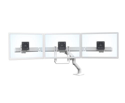 Ergotron HX Triple Monitor Bow Kit, White Colour, Front View, No Monitors, With Arm, Transparent Monitors