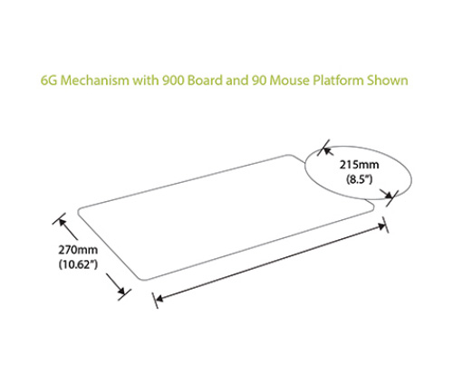 Humanscale's Keyboard System Dimensions with Mouse Platform