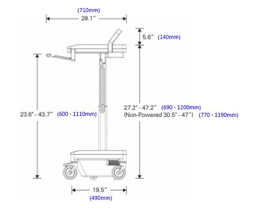 Humanscale T7 Medical Cart Dimensions
