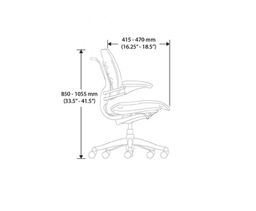 Humanscale Freedom Task Chair Side View with dimensions
