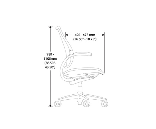 Humanscale Liberty Chair Dimensional Drawings height