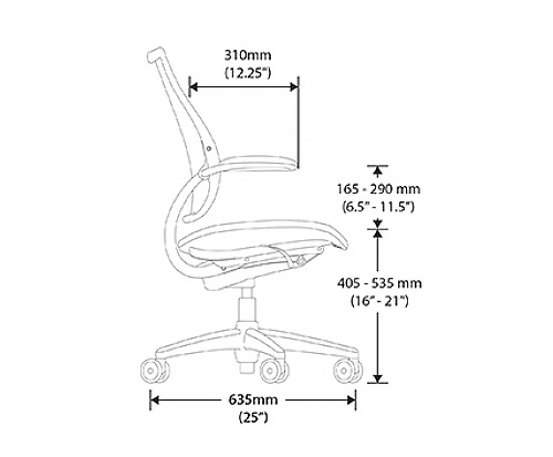 Humanscale Liberty Chair Dimensional Drawings