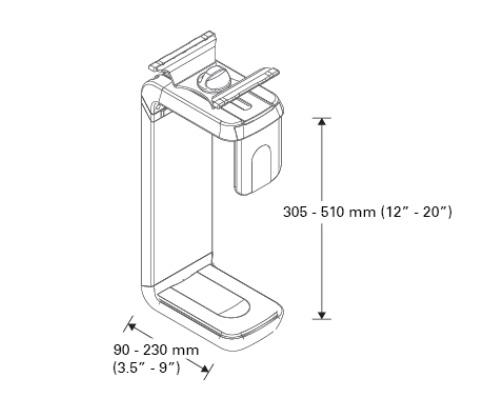 Humanscale CPU Holder CPU600 Dimensions