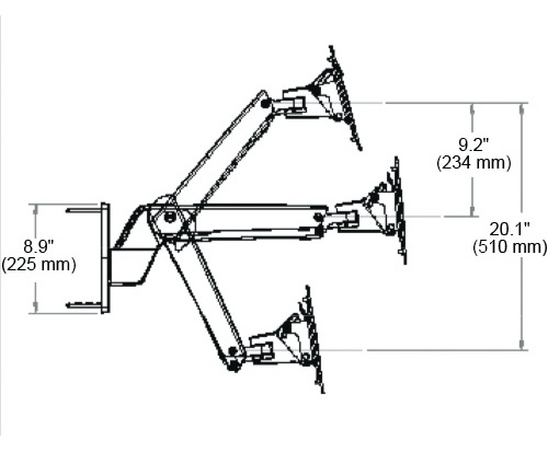 Ergotron Interactive Arm HD dimensions from wall