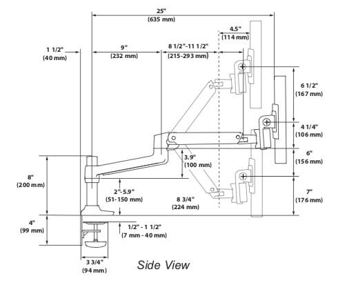 Ergotron LX Dual Direct Arm Dimensions