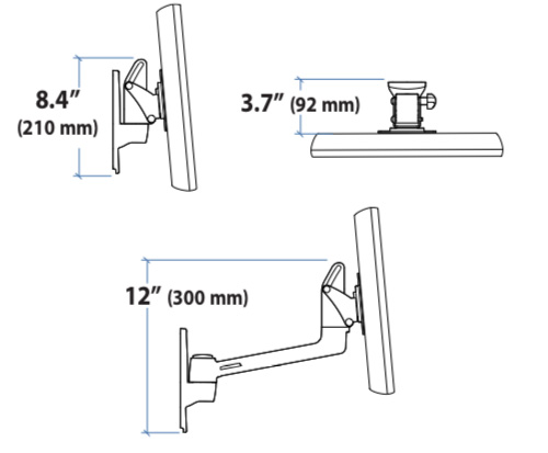 Ergotron LX HD Wall Mount Swing Arm Dimensions