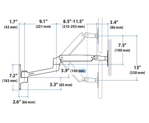 Ergotron LX Wall Mount LCD Arm Side Dimensions
