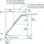 Ergotron MXV Desk Dual Monitor Arm side dimensions
