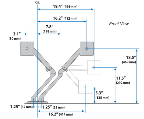 Ergotron MXV Desk Dual Monitor Arm Front Dimensions